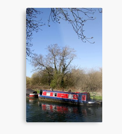 Narrow Boat In Spring Metal Print