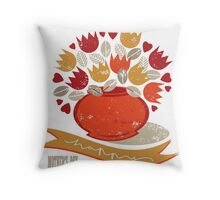 red tulips for mum Throw Pillow