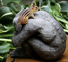 Chipmunk on Gargoyle by Mikell Herrick