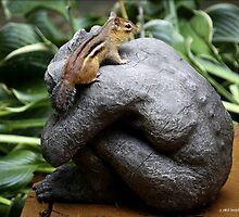 Chipmunk on Gargoyle by Mikell Herrick