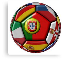 Soccer ball with flags - flag of Portugal in the center Canvas Print
