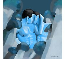 MEN LOST IN THE LAND OF BLUE MUSHROOMS Photographic Print