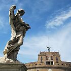 Angel with thorn crown and Castel Sant' Angelo, Rome, Italy by buttonpresser
