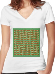 Leaves Illusion Women's Fitted V-Neck T-Shirt