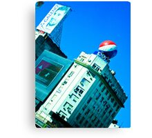 Advertising in the city. Canvas Print