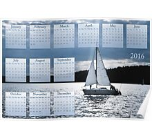 Blue moon sailing calendar 2016 Poster