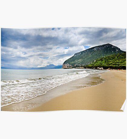 Beautiful island beach on sunny day in Sardinia Poster