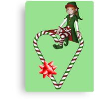 Girl Elf Candy Cane Heart Holiday  Canvas Print