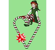 Girl Elf Candy Cane Heart Holiday  Photographic Print