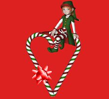 Girl Elf Candy Cane Heart Holiday  Womens Fitted T-Shirt