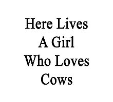 Here Lives A Girl Who Loves Cows  Photographic Print