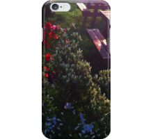 Bursting Flowers by Wooden Benches iPhone Case/Skin