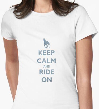 Keep Calm and Ride On Horseback Riding Womens Fitted T-Shirt