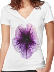The Petunia's Lavender Veins Women's Fitted V-Neck T-Shirt