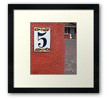 Numero Cinco Framed Print