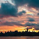 Panorama of manhattan skyline in new york city at sunrise by Prashant Agrawal