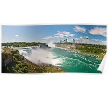 Panaroma view of Niagara Falls in New York state and the city skyline from the USA side Poster