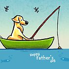 Lab Fishing Off-Leash Art™ Father's Day  by offleashart