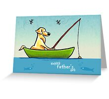 Lab Fishing Off-Leash Art™ Father's Day  Greeting Card