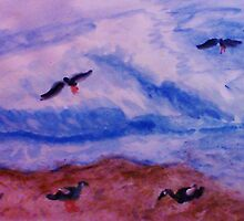 Waves and seagulls, watercolor by Anna  Lewis, blind artist