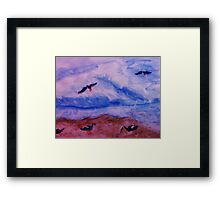 Waves and seagulls, watercolor Framed Print