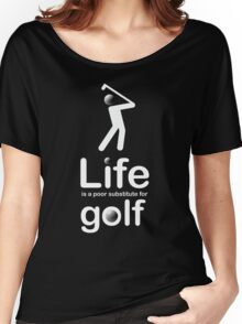 Golf v Life - White Graphic Women's Relaxed Fit T-Shirt