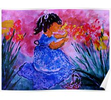 She found the flowers, watercolor Poster