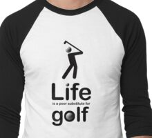 Golf v Life - Black Graphic Men's Baseball ¾ T-Shirt