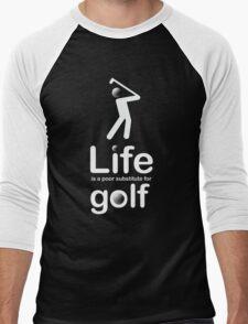 Golf v Life - Carbon Fibre Finish Men's Baseball ¾ T-Shirt