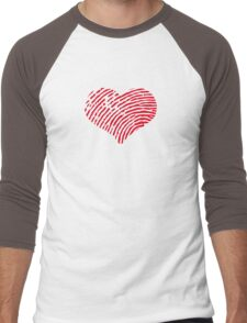 Red Heart Fingerprint Men's Baseball ¾ T-Shirt