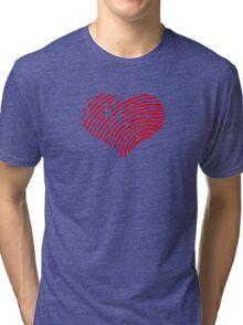 Red Heart Fingerprint Tri-blend T-Shirt
