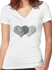 Two Hearts Fingerprint Women's Fitted V-Neck T-Shirt