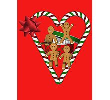 Gingerbread Men Candy Cane Heart  Photographic Print