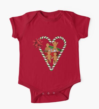 Gingerbread Men Candy Cane Heart  One Piece - Short Sleeve