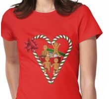 Gingerbread Men Candy Cane Heart  Womens Fitted T-Shirt