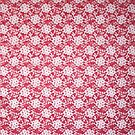 Red and lace fabric pattern by Karin Elizabeth