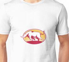 Rhinoceros Charging Side Retro Unisex T-Shirt