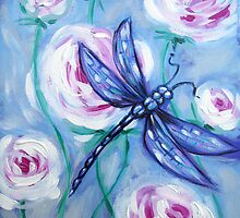 Vintage Blue Dragonfly by Ira Mitchell-Kirk
