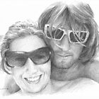 Beach couple drawing by Mike Theuer