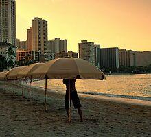Umbrellas at dawn by Chris Brunton