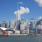 Hong Kong harbour by day with a sail boat by Jamie Parker