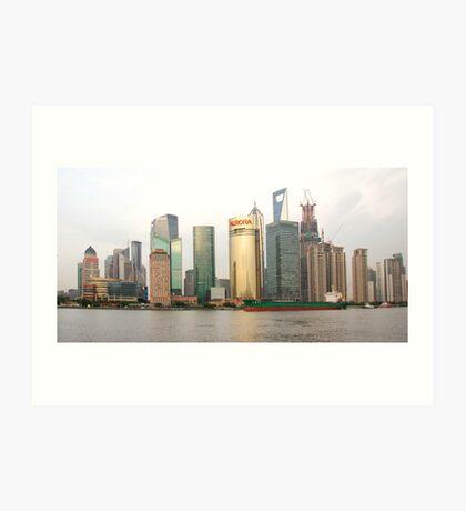 Shanghai cityscape with ocean liner Art Print