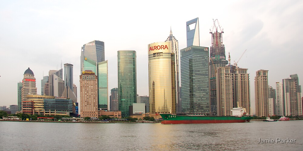 Shanghai cityscape with ocean liner by Jamie Parker