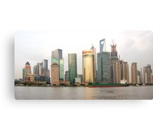 Shanghai cityscape with ocean liner Canvas Print