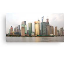 Shanghai cityscape with ocean liner Canvas Print