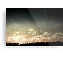 Colourized sunset with jet plane Metal Print