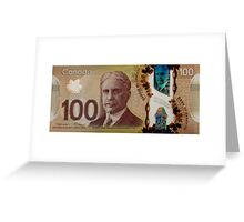 Isolated 100 Canadian dollar banknote. Greeting Card