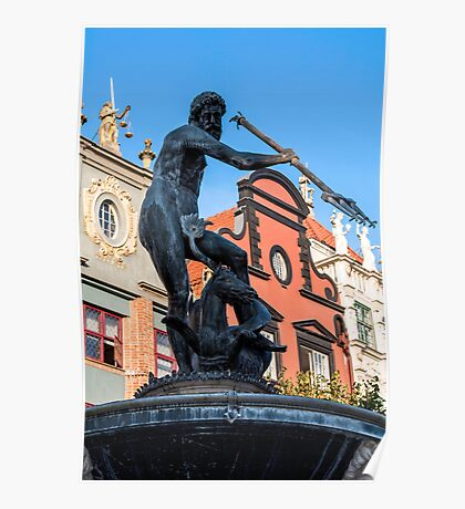 God of sea. Neptune's statue. Poster
