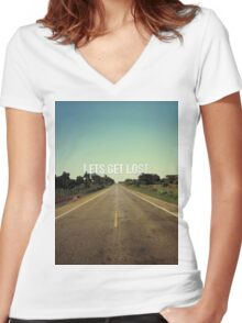 Lets Get Lost - African Road Women's Fitted V-Neck T-Shirt
