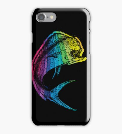 Rainbow Mahi Mahi on Black iPhone Case/Skin